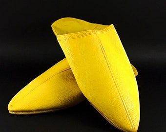 Yellow Moroccan Traditional Babouches, Slippers, Handmade Leather,