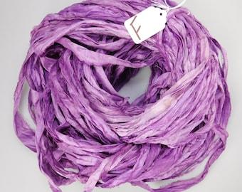 Sari silk ribbon, Recycled Silk Sari Ribbon, Lilac sari ribbon, purple sari ribbon, weaving supply, knitting supply, tassel supply