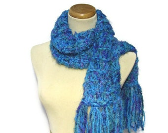 Sale Blue Lagoon Hand Knit Scarf , Turquoise Scarf, Blue Scarf, Knit Scarf, Hand Knit Scarf, Gift for Her, Chirstmas Gift