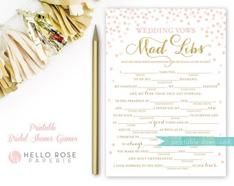 Wedding Vows Mad Libs Bridal Shower Game . Printable Instant Download . Pink and Gold . Gold Glitter . Digital Download . Bridal Shower Game