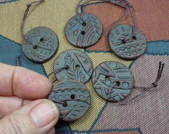 Handmade Stoneware Clay Buttons, Patterned with Intaglio Designs, Enhanced with Terra Sigillata, Great Jewelry Components or Fiber Closures