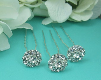 Crystal rhinestone wedding hair pin (Set of 3), bridal hair accessories, rhinestone hairpin, bridal hairpins, Ariah Crystal Hair Pins