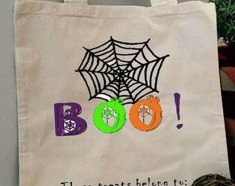 Trick or Treat Bag, Halloween Bag, Boo Treat Bag, Customized Treat Bag, Spider Web Bag, Candy Bag, Trick or Treat, Halloween Candy Bag