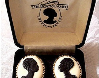 The Black Cameo Clip On Earrings Silver Tone Vintage 1989 Signed RARE Coreen Simpson African American Woman Rope Edge