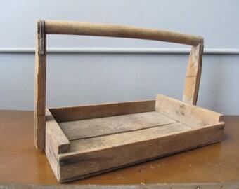 Vintage Flower Basket Rustic Hand Built Tool box or Handled Tray