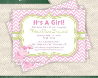 Pink and White Chevrons- Pink and Green Baby Shower Elephant Invitation Printable - Personalized for Any Event Add a Photo If You Like