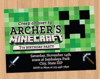 Minecraft invitation etsy minecraft birthday invitation diy printable stopboris Images
