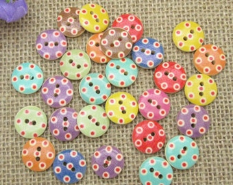 15 colorful wooden button with polka dots