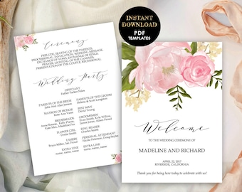 Wedding Program, Floral Wedding Fan Programs, Printable Template (Madeline), DIY Program, Instant Download, Editable Text