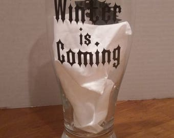 Winter is coming wine pint glass