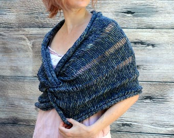 Ready to Ship: The Claddagh Wrap - Hand Knit Shawl - Merino Shawl - Wool Shawl - Spring Shawl - Blue Shawl - Women Shawl - Wedding Shawl