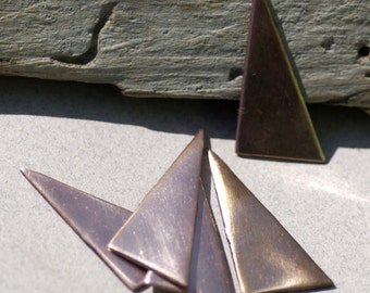 Triangles Blanks 15mm x 30mm for Enameling Stamping Texturing Soldering Blanks - 6 pieces