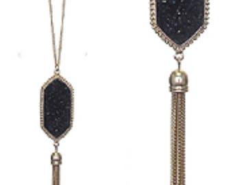 Druzy Tassel Fine Long Necklace Black