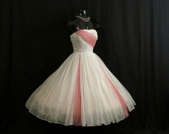 Vintage 1950's 50s White Pink Ruched Chiffon Organza Party Prom Wedding Dress