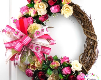 Rose Wreath, Valentine's Wreath, Gift for her, Valentine's Wreath for Front Door, Valentine's Roses, Valentine's Decor, Valentines Grapevine