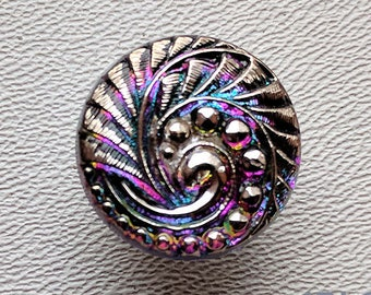 CZECH GLASS BUTTON: 18mm Nouveau Feather Swirl Handpainted Czech Glass Button, Pendant, Cabochon (1)