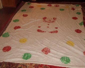 Really Different VINTAGE Chenille Bedspread with Clown