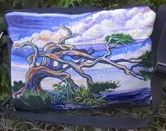 Zippered tote, medium zippered shoulder bag, Dreamscapes Windswept Pine, Medium Honeysuckle