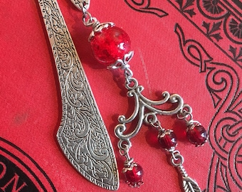 Small bookmark red Bohemian jewelry