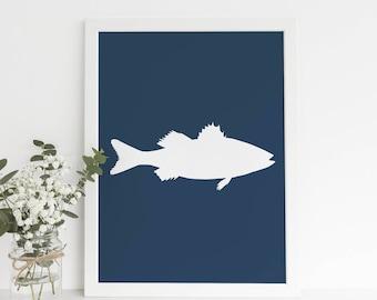 Navy Blue Decor, Navy Blue Prints, Printable Artwork, Fish Artwork, Lake House Art, Sea Bass Print Bass Artwork Fishing Print Prints for Him