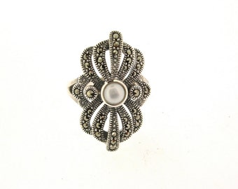 Art Deco Ring Silver Freshwater Pearl Marcasite