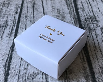 40x White Bomboniere Favour Boxes • Wedding Anniversary Party Baby Shower Baptism Christening Gift Box • Personalised Gift Gold Foil Boxes