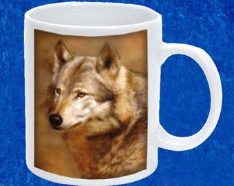Ceramic mug sublimation Wolf portrait