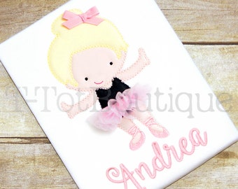 SALE - Ballet Girl Embroidered Shirt or Bodysuit with a Real 3D Tutu and Bow - Dance Class or Dance Recital - FREE PERSONALIZATION
