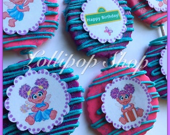 12 Abby Cadabby chocolate lollipops (Birthday, sesame street party favors, Abby Cadabby candy)