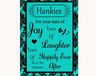 Turquoise Damask Hankies And Tissues Personalised Wedding Sign