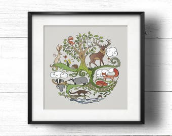 Born to Roam Wild (Stone) - A4 Sq Giclée Print - Wild Animals, Fox, Badger, Otter, Red Squirrel, Hare, Owl, Bees, Butterflies, Oak Tree
