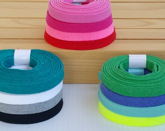 """62 cotton knit colors, Cut by the yard, jersey cotton knit bias tape, 1/2"""" double fold."""