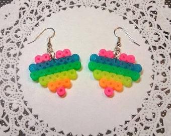 NEON RAINBOW HEART Perler Bead Earrings