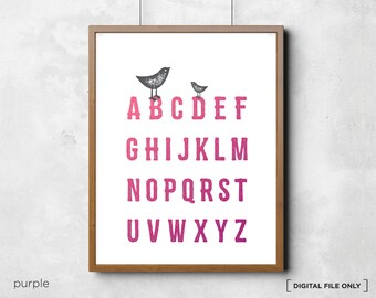 Bird Alphabet print - Children's Alphabet Poster - Alphabet ABC - Nursery Art Print - Kids wall decor - Alphabet chart - Kids alphabet