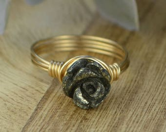 Carved Pyrite Rose Ring -Sterling Silver, Yellow or Rose Gold Filled Wire Wrap with Carved Gemstone Flower- Size 4 5 6 7 8 9 10 11 12 13 14
