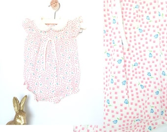 baby girl romper, size 0-6 month, vintage blue and pink flowered outfit, 70's 80's baby clothing, Easter outfit for baby girl, spring