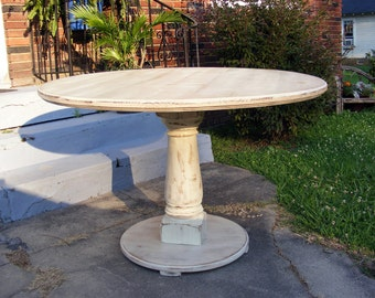 Handcrafted 42 inch Round Pedestal Table Distressed Ivory Featuring Chunky Solid Wood Pedestal