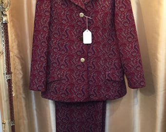 Vintage 60s Nan Scott Paisley Tapestry Suit - complete with pants AND skirt