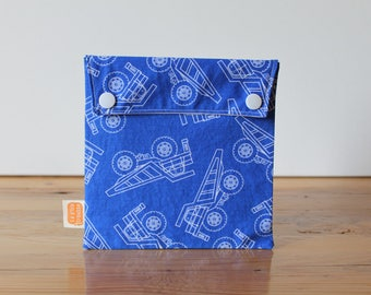 Reusable sandwich bag, reusable snack bag, fabric bag in blue with Trucks print [#146], eco friendly, no waste lunch, ProCare, washable bag