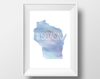Wisconsin State Blue Watercolor Printable Art, Wisconsin Print, Wisconsin Art, Modern Art,