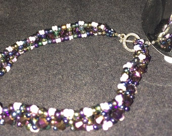 Number 11 right angle hand woven bracelet by Maine Artist Amber Martin