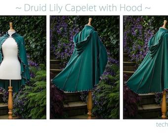 Druid Lily Capelet ~ green cape, green cloak, green wedding cape, green shawl, green hooded cloak, round hood, handfasting cape, technodolly