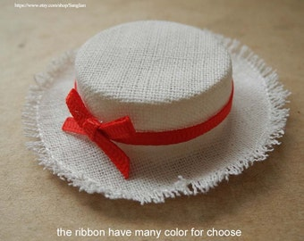 "linen hat for barbie and many 12"" dolls"