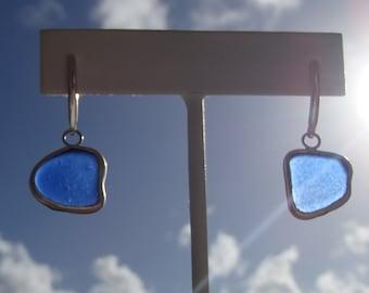 Modern Cobalt Sea Glass Sterling Post Earrings