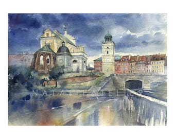 Warsaw - Old Town - St Anna church - WZ - watercolor/watercolor print