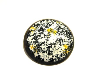 Vintage Round Blue White and Yellow Splattered Enameled Copper Dome Pin Brooch
