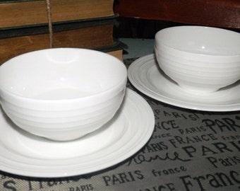 Vintage (c.1995) Mikasa Swirl White stoneware 2 cereal bowls and 2 & Mikasa swirl | Etsy