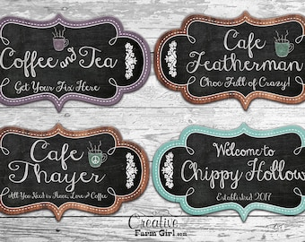 Cafe Sign, coffee sign, coffe and tea sign, tea sign, personalized cafe sign, personalized coffee sign, custom coffee sign