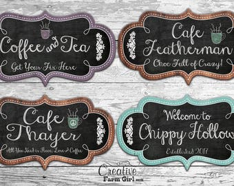 Cafe Sign, coffee sign, coffee and tea sign, tea sign, personalized cafe sign, personalized coffee sign, custom coffee sign
