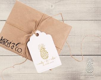 Pineapple Wedding Favors | Letterpress Foil Gift Tags | Bride Groom Gifts | social graces co